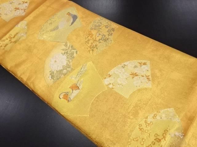 本金地紙に鴛鴦・雉・牡丹・桜模様織り出し袋帯【リサイクル】【中古】