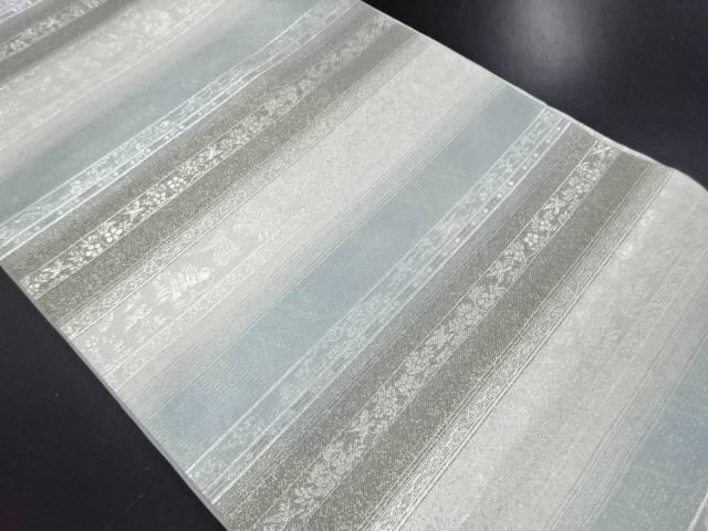 金銀糸横段に花更紗模様織り出し袋帯【リサイクル】【中古】