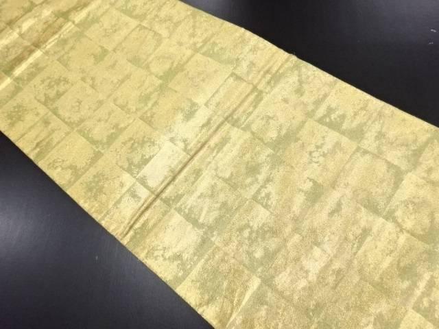 本金屏風箔模様織り出しリバーシブル全通袋帯【リサイクル】【中古】