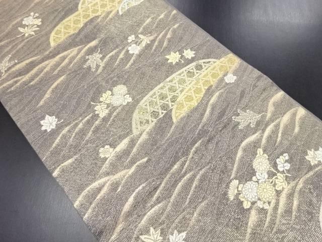 紗本金箔蛇籠に桜・楓・菊模様織り出し袋帯【リサイクル】【中古】
