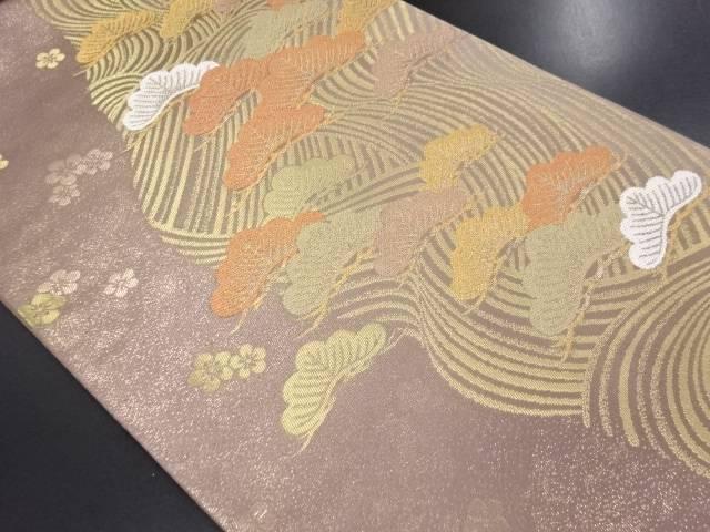 未使用品 本金流水に松・梅模様織り出し袋帯【リサイクル】【中古】