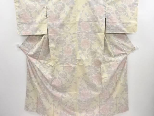 未使用品 花模様織り出し本場白大島紬着物(5マルキ)【リサイクル】【中古】