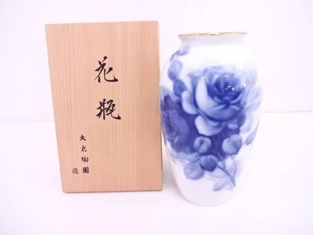 大倉陶園 ブルーローズ花瓶
