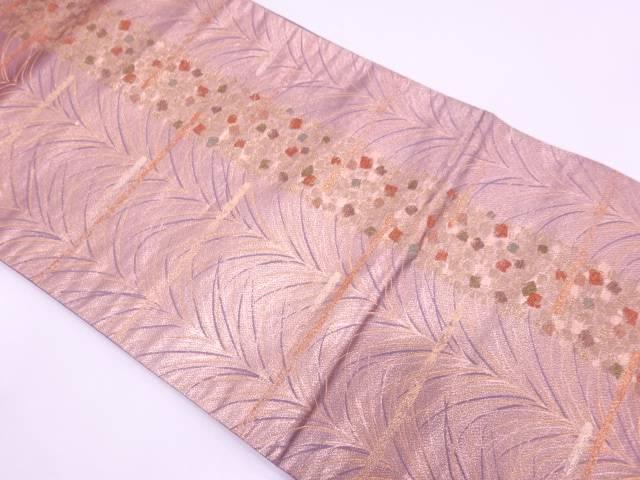 色紙散らしに草葉模様織出し袋帯【リサイクル】【中古】