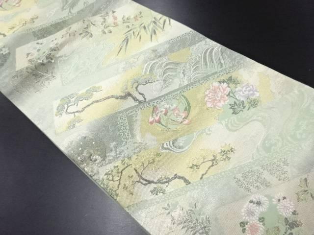 金銀糸荒波に花丸文様織り出し袋帯【リサイクル】【中古】