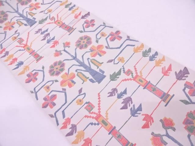 樹木に花模様織出し袋帯【リサイクル】【中古】