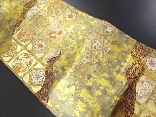 服部織物製 こはく錦 霞取りに花蜀江紋織り出し袋帯【リサイクル】【中古】