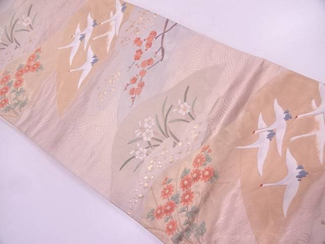山並みに鶴・枝梅模様織出し袋帯【リサイクル】【中古】