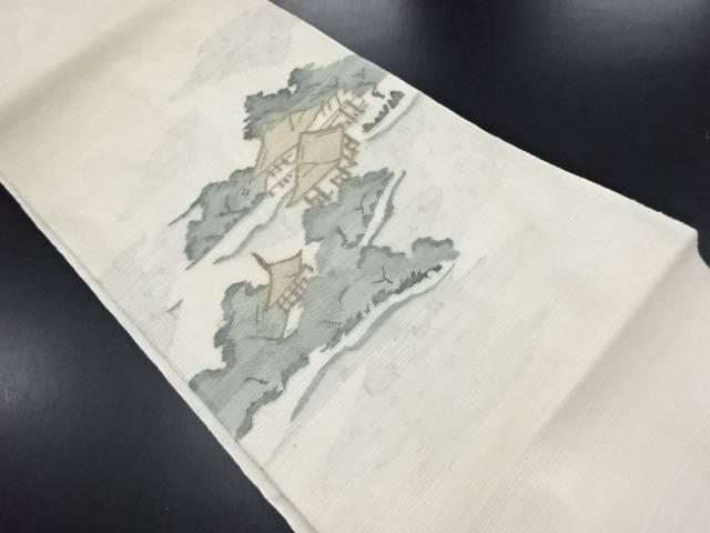 紗紬霞に寺院・樹木模様織り出し袋帯【リサイクル】【中古】