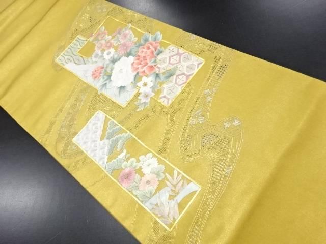 汕頭蘇州刺繍短冊に流水・牡丹・菊模様袋帯【リサイクル】【中古】