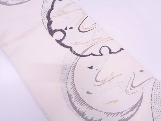 辻梅製 雪輪に花びら模様織出し袋帯【リサイクル】【中古】
