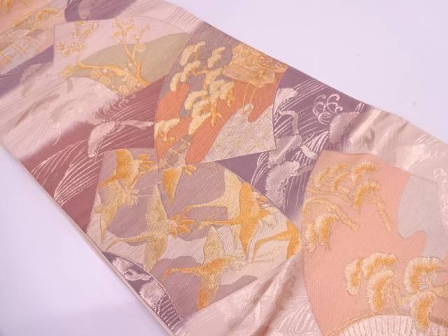 地紙に鶴・松梅模様織出し袋帯【リサイクル】【中古】
