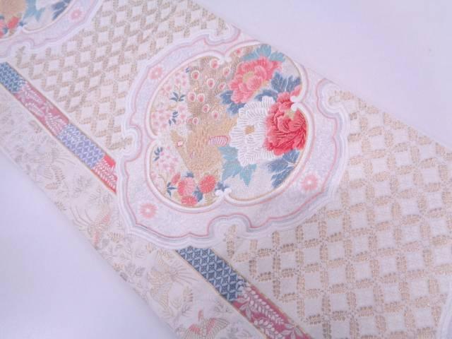本金箔孔雀に牡丹・七宝模様織出し袋帯【リサイクル】【中古】