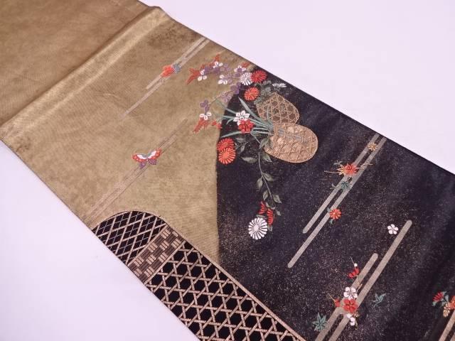ヱ霞に花籠・蝶模様織出し袋帯【リサイクル】【中古】