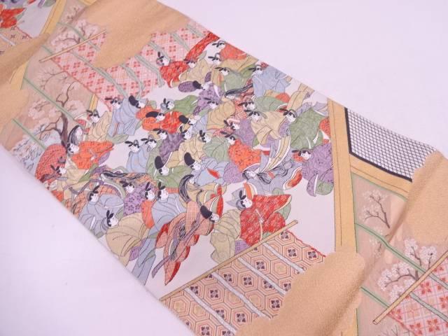 歌仙之集模様織出し袋帯【リサイクル】【中古】