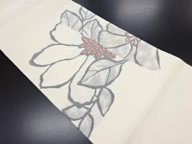 手織り紬花模様織り出し袋帯【リサイクル】【中古】