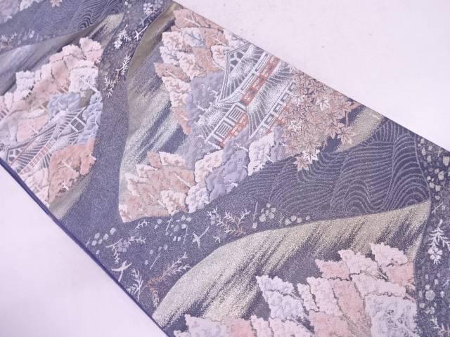 屋敷に樹木風景模様織出し袋帯【リサイクル】【中古】