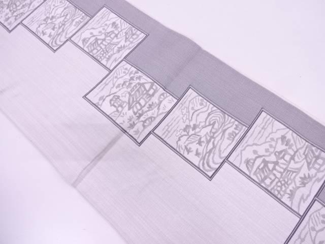 色紙に家屋風景模様織出し袋帯【リサイクル】【中古】