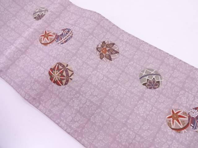 毬に花模様織出し袋帯【リサイクル】【中古】