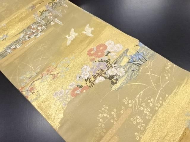 本金箔 ヱ霞に白鷺・菊藤模様織り出し袋帯【リサイクル】【中古】
