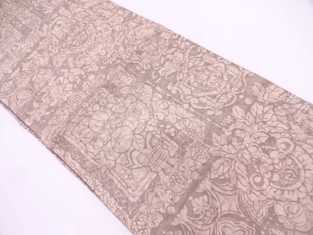 未使用品 渡文製 纐纈花器模様織出し全通袋帯【リサイクル】【中古】