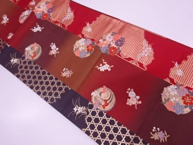 縞に花丸文様織出し袋帯【リサイクル】【中古】