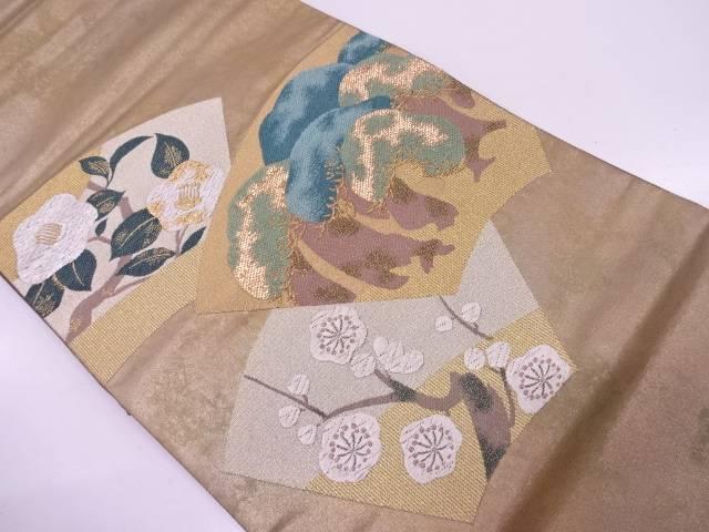 地紙に松・椿模様織出し袋帯【リサイクル】【中古】