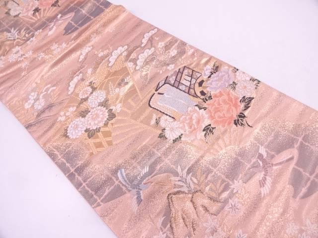 二十四金二重織扇面に御所車・花鳥模様織出し袋帯【リサイクル】【中古】
