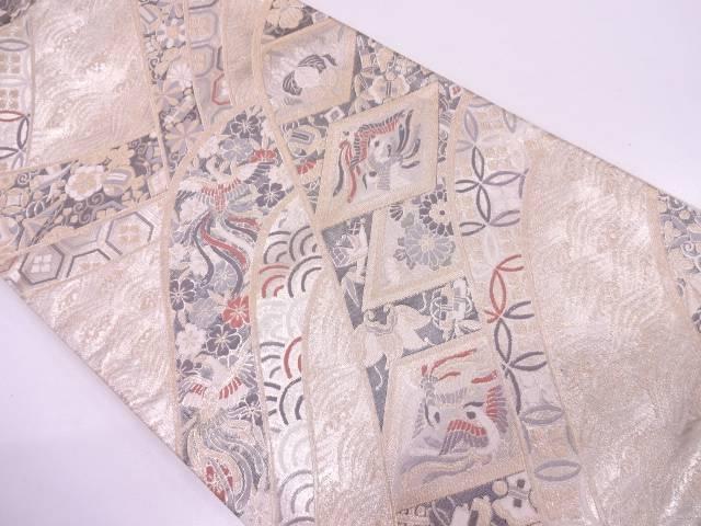 花鳥に古典柄模様織出し袋帯【リサイクル】【中古】