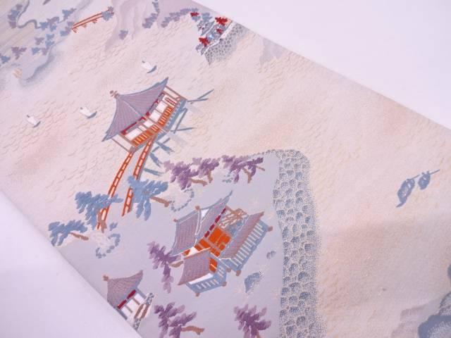 明綴れ時代風景模様織出し袋帯【リサイクル】【中古】