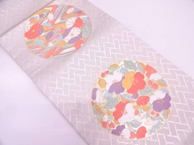 金彩檜垣に花丸文様織出し袋帯【リサイクル】【中古】