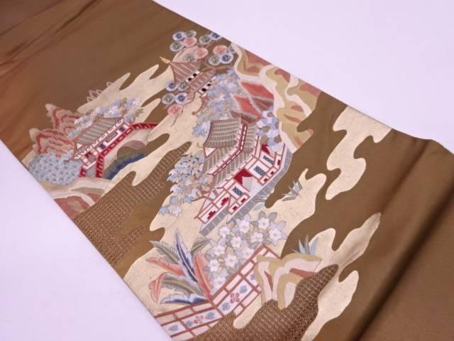 汕頭蘇州刺繍風景模様暈し袋帯【リサイクル】【中古】