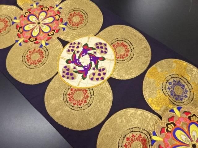 華紋に鶴・絵皿模様織り出し袋帯【リサイクル】【中古】