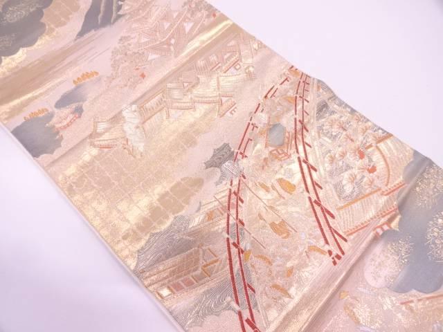 純金箔大名行列模様織出し袋帯【リサイクル】【中古】