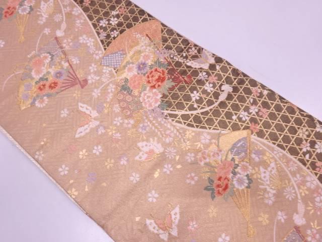 扇に花・蝶模様織出しリバーシブル袋帯【リサイクル】【中古】