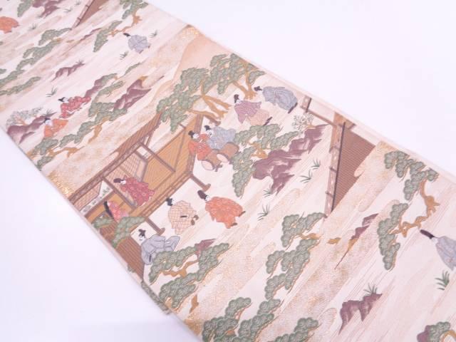 未使用品 本金箔時代人物風景模様織出し袋帯【リサイクル】【中古】