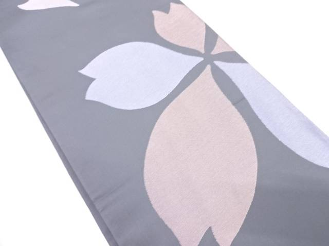 ジュサブロー作 桜模様織出し全通袋帯【リサイクル】【中古】