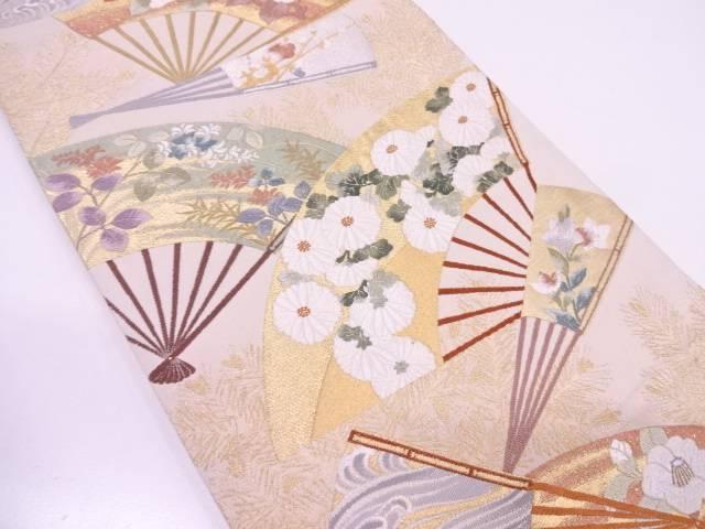 唐織扇に若松・花模様織出し袋帯【リサイクル】【中古】