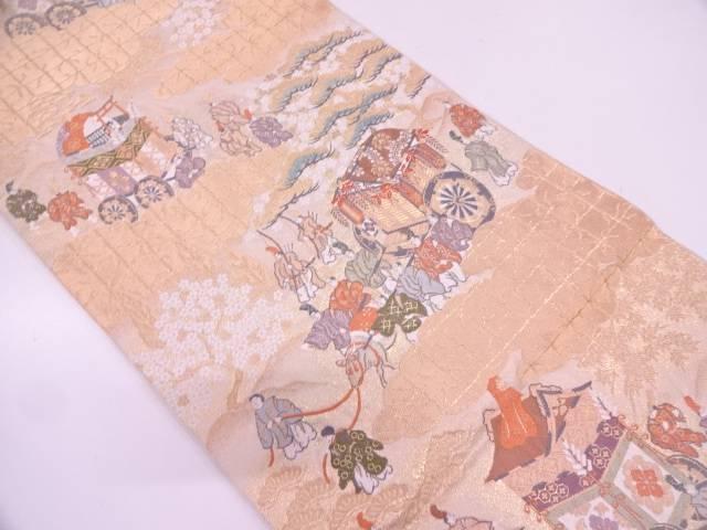 服部織物製 時代人物風景模様織出し袋帯【リサイクル】【中古】