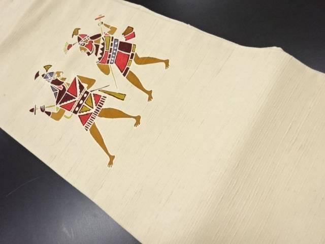 手織り節紬戦士模様名古屋帯【リサイクル】【中古】