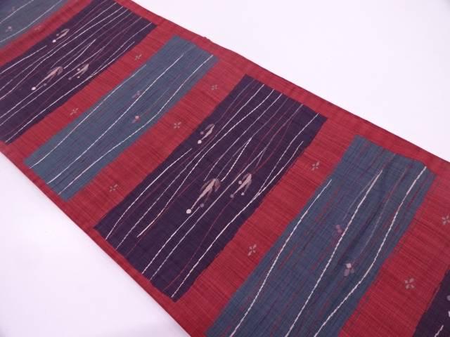 陶漆抽象模様織出し袋帯【リサイクル】【中古】