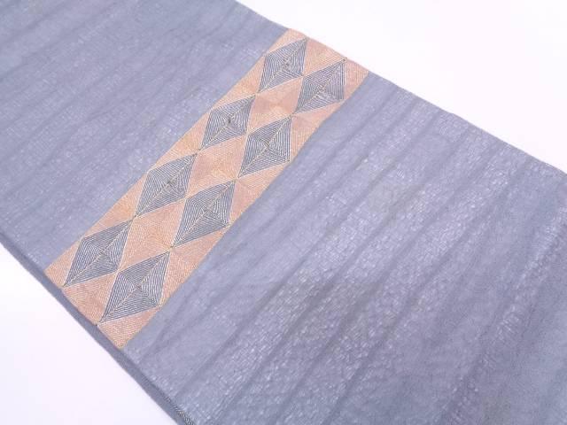 紗 すくい織横段に菱模様刺繍袋帯【リサイクル】【中古】