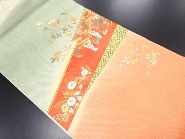 金彩 椿・秋草模様刺繍名古屋帯【リサイクル】【中古】