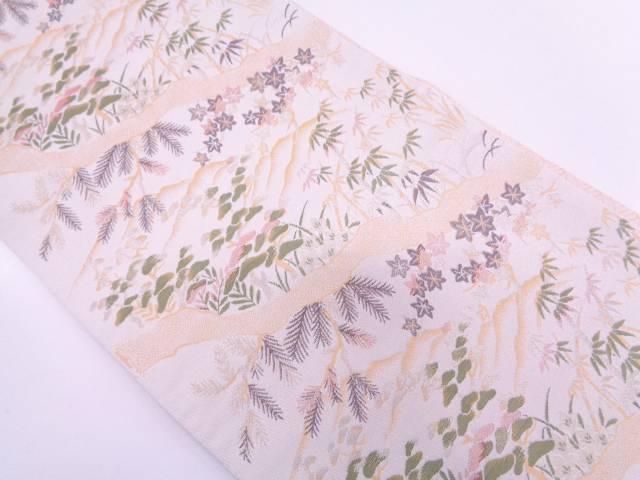山並みに松竹・楓模様織出し袋帯【リサイクル】【中古】