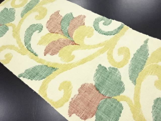 手織り真綿紬 唐草模様織り出し名古屋帯【リサイクル】【中古】