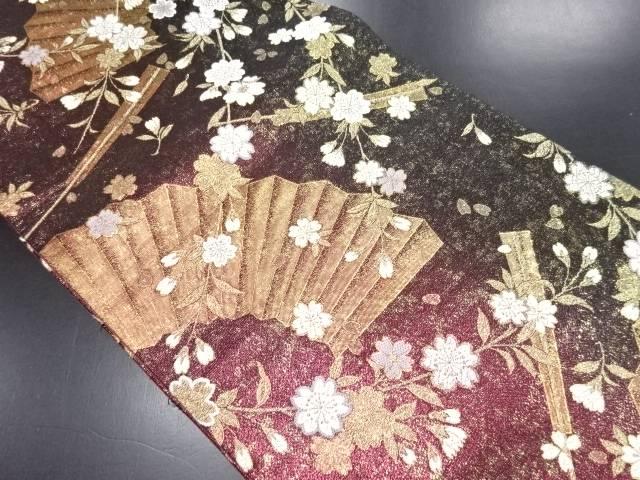 金糸 桜に扇模様織り出し袋帯【リサイクル】【中古】
