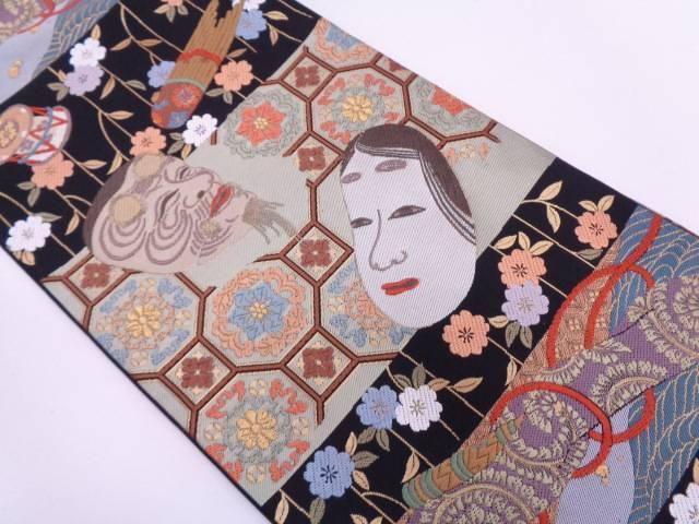 唐織面に古楽器・花蜀江紋織出し袋帯【リサイクル】【中古】
