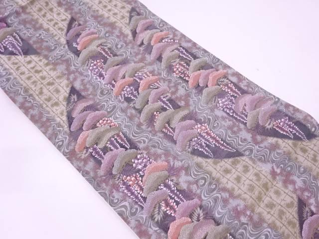 未使用品 河瀬満織物製 松に藤模様織出し袋帯【リサイクル】【中古】