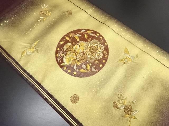 金彩鶴に向かい鴛鴦・花模様刺繍袋帯【リサイクル】【中古】