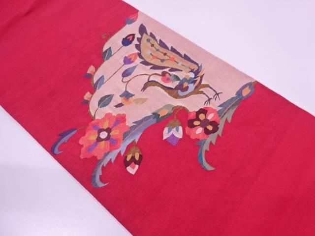 すくい織明綴れ花鳥模様織出し袋帯【リサイクル】【中古】